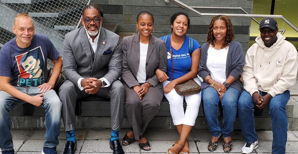 The Planning Committee meets a few days before the event. Left to right: Eugene Jensen, Voices of Brooklyn Director; Councilman Robert Cornegy, Jr.; Assemblymember Tremaine Wright;  DGI Founder and Executive Director, Michelle Gall; DGI Board President and Director of Programming, Toni Robinson; 36th District Ambassador of Arts & Culture, Joseph C. Grant, Jr.