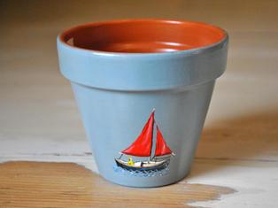 Sailing Boat Hand Painted Pot £8