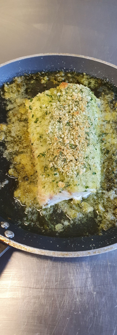 Cooked fish with herb crust
