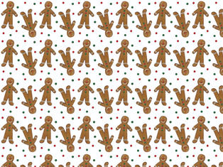 2 Sheets of Gingerbread Gift Wrap &Tags £4