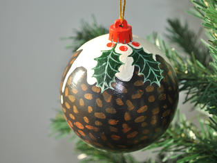 Hand Painted Christmas Pud Bauble Small £9, Large £12