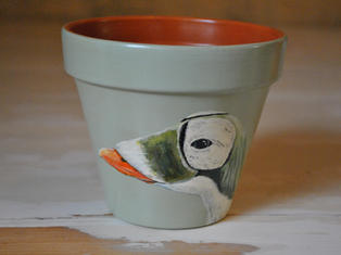 Eider Duck Hand Painted Pot £10