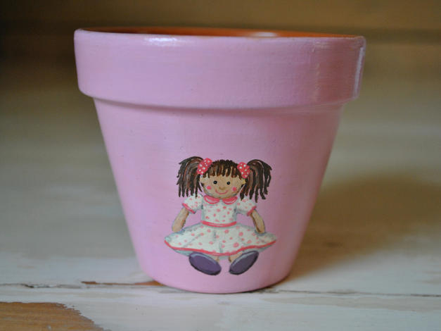 Rag Doll Hand Painted Pot £8