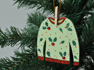 Holly and Berry Jumper Christmas Tree Decoration £7