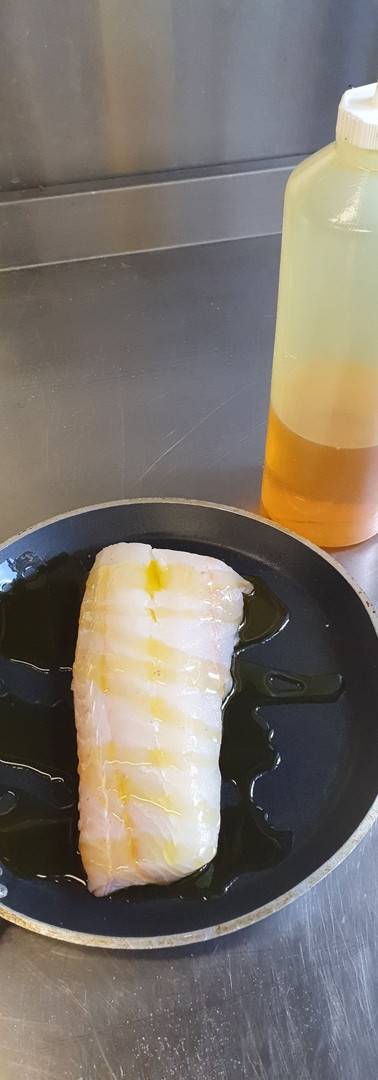 Fish with smoked oil