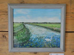 Somerset Levels, Original Gouache Painting £120