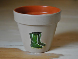 Wellies Hand Painted Pot £8