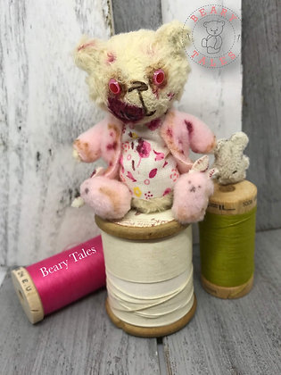 The Teddy Bear Girl - The Walking Dead Miniature Handmade Vegan Teddy Bear