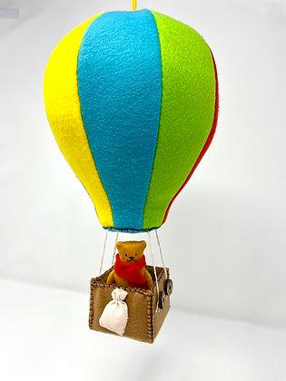 Hot Air Balloon Bear - Collectable Handmade Vegan Decoration