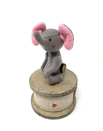 Elephant Feltie - Miniature Handmade Vegan elephant
