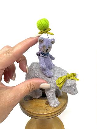 Lavender and Bee - Miniature Handmade Vegan Teddy Bears