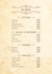 Casa de Moor Gin menu