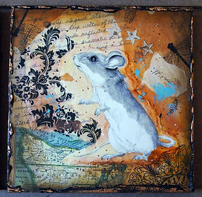 field mouse drawing in collage