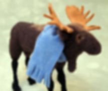 needle felted wool moose with cashmere scart