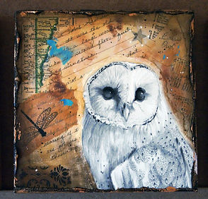 barn owl drawing in collage