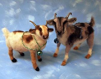 needle felted wool goats
