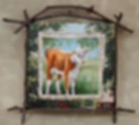 hereford calf painting in collage