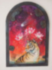 bengal tiger with lotus crown drawing and painting in collage