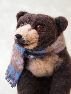 needle felted wool bear with scarf