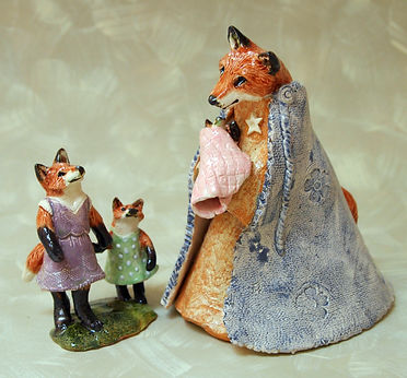 ceramic fox family characters mom and baby two girls