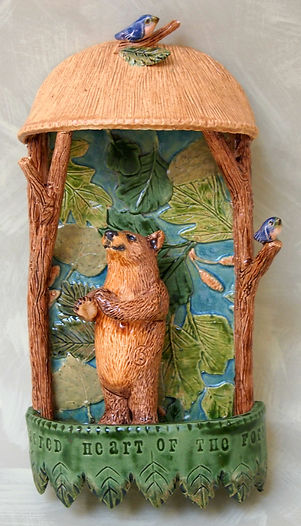 ceramic bear wall shrine with bluebirds