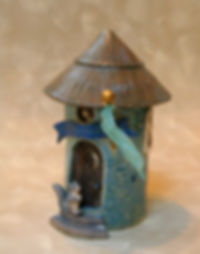 stoneware ceramic fairy garden house with squirrel and silk flag