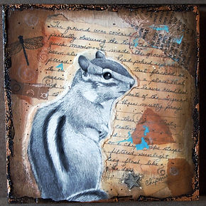 chipmunk drawing in collage