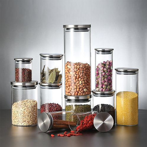 Glass Storage Jars With Stainless Steel Cover