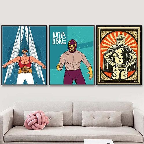 Vintage Luchadores Canvas Posters