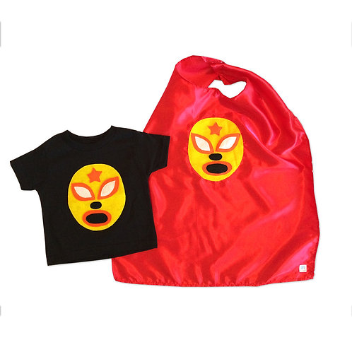 Kid's Cape and Shirt- Luchador Amarillo