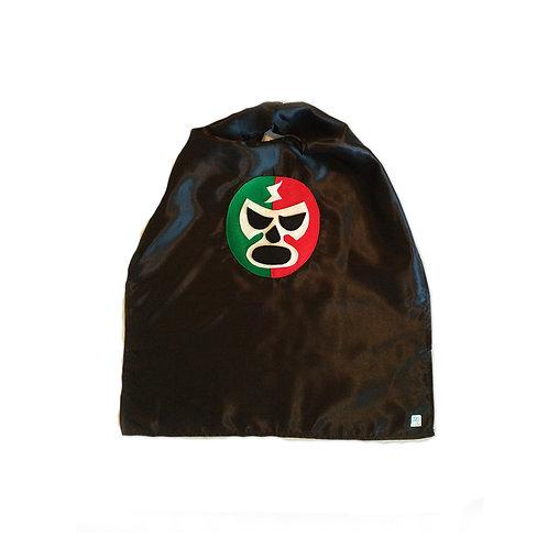 Luchador Rojo + Verde - Red + Green Mexican Wrestler Cape - Black