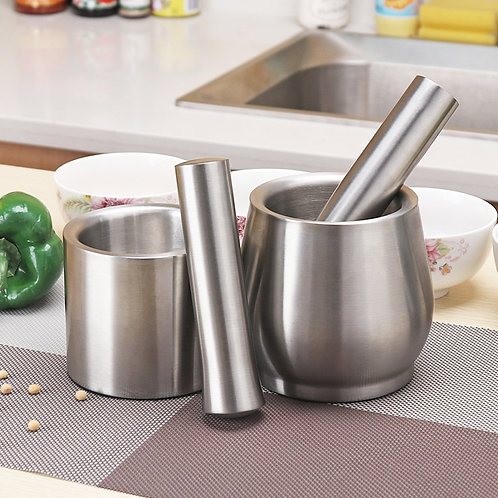 Brushed Stainless Steel Mortar and Pestle Spice Grinder Molcajete