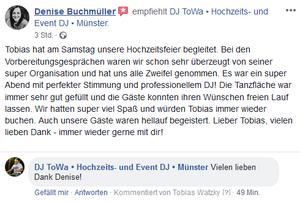 DJ ToWa Muenster Hochzeit Heiraten Wedding Party Event Geburtstg Business Weihnachtsfeier
