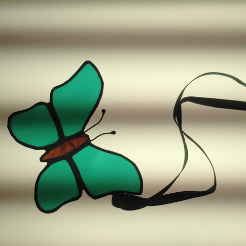 Stained Glass Green Butterflies £18