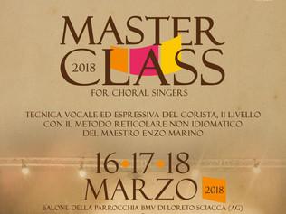 Masterclass II livello in Tecnica vocale ed espressiva del corista - Sciacca (Ag) 16-18/03/2018