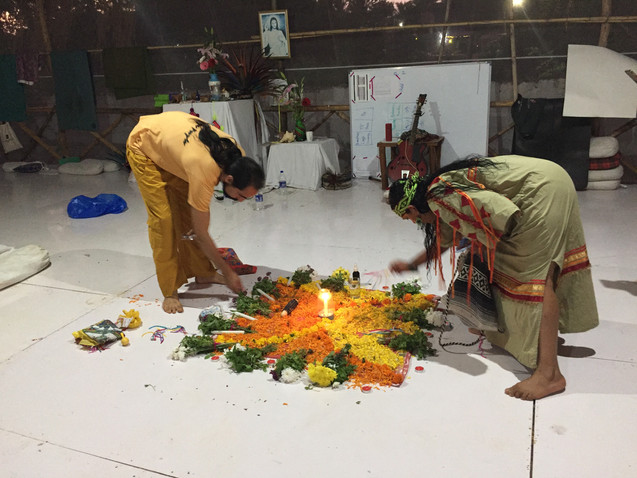 Preparing the flowers for a Cleansing Ceremony