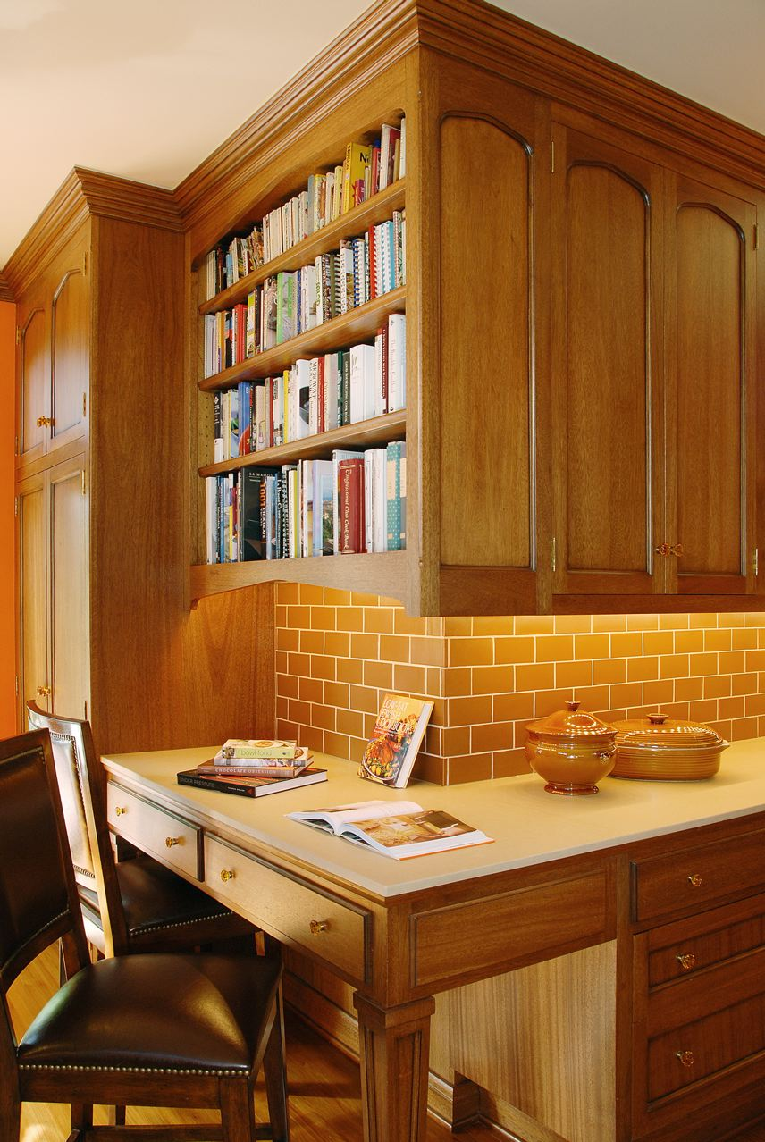 Pantry, cook book library, and desk.