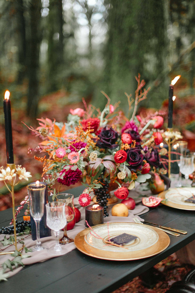 Moody Burgundy and Gold Wedding Inspiration