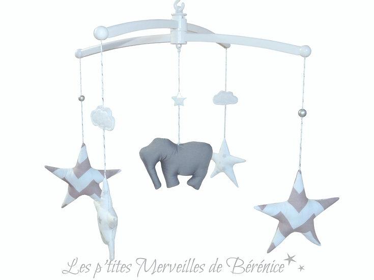 """Mon Joli mobile musical """"Eléphant & étoiles"""" Gris"""