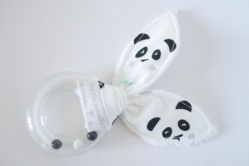 """Hochet """"lapin"""" collection """"mon petit panda"""" blanc, noir, mint"""