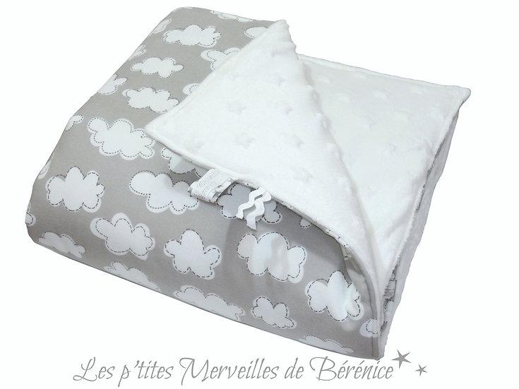 """Couverture bébé """"nuages & étoiles"""" gris & blanc"""