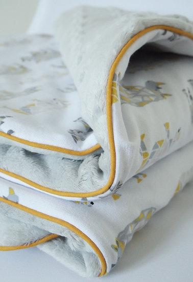"""Couverture bébé """"Rhinocéros"""" gris & jaunes"""