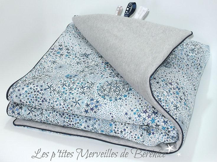 Couverture bébé Liberty Adelajda bleue et molleton