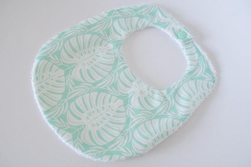 """Bavoir bébé """"Tropical Paradise"""" feuilles exotiques de Monstera mint / vert d'eau et blanc"""