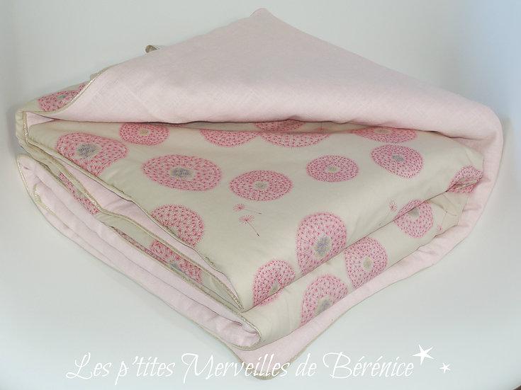 Couverture bébé Liberty Fairy clock lin lavé rose