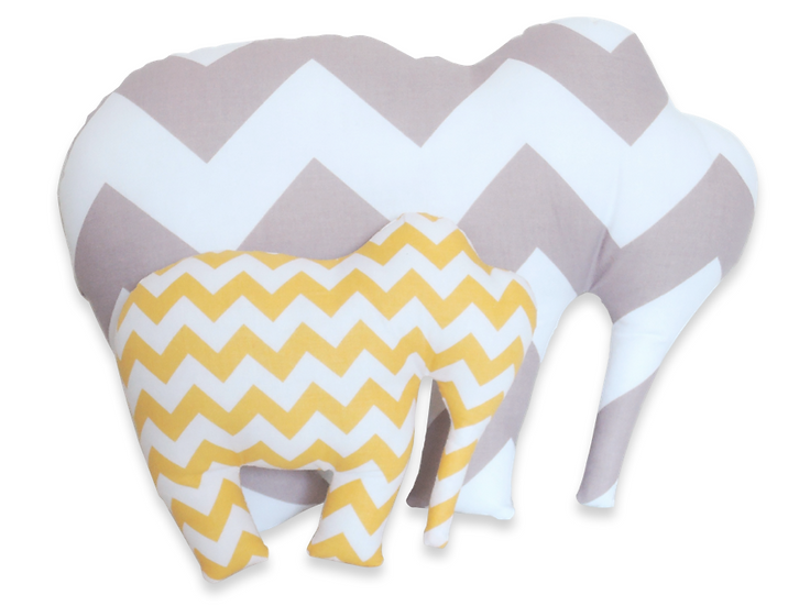 Coussin + doudou éléphant gris, jaune, blanc