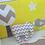 Thumbnail: Doudou éléphant gris et blanc à chevrons