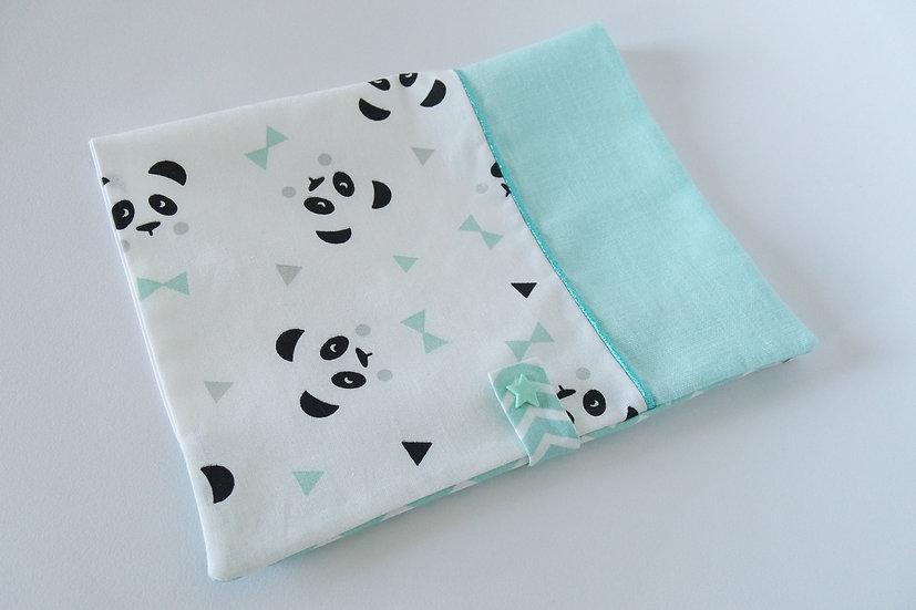"""Protège carnet de santé personnalisé """"Mon petit panda"""" blanc, noir, mint et gris"""