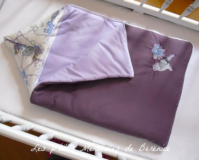 Nid d'ange violet/lilas liberty fleurs et oiseaux