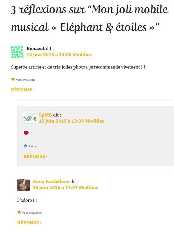 Commentaires parution article sur Wordpress